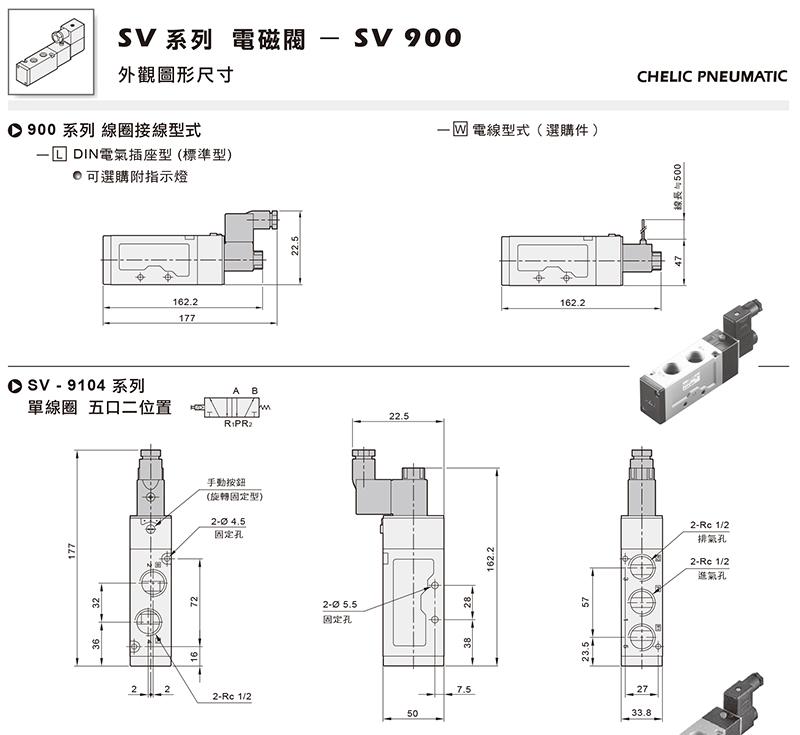 气立可电磁阀,2位5通双电控,标准插座型附指示灯,sv-5201-24vdc-l