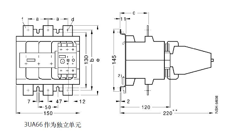 西门子 热过载继电器,3ua6140-3k 120-150a