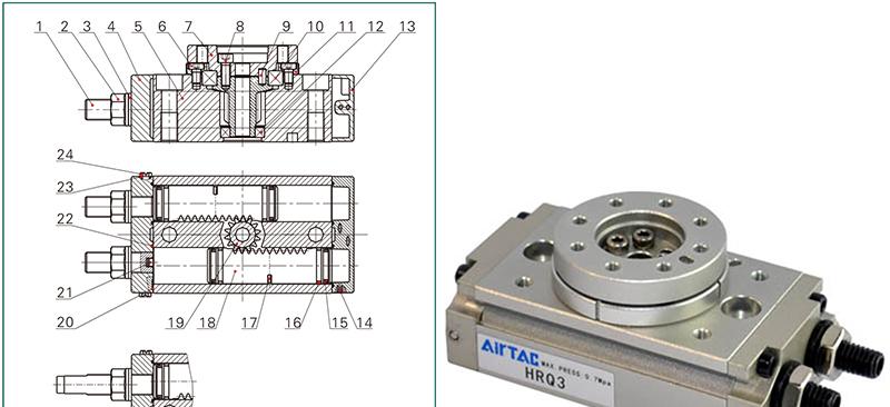 亚德客齿轮齿条型回转气缸,hrq2图片